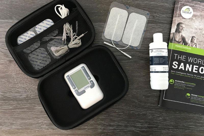 Equipment von Saneo Case Elektrodengel Prospekt und Elektroden